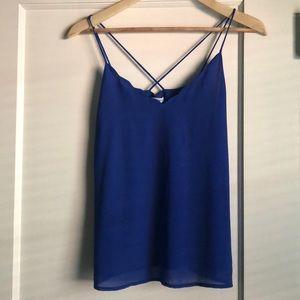 Cobalt blue top.